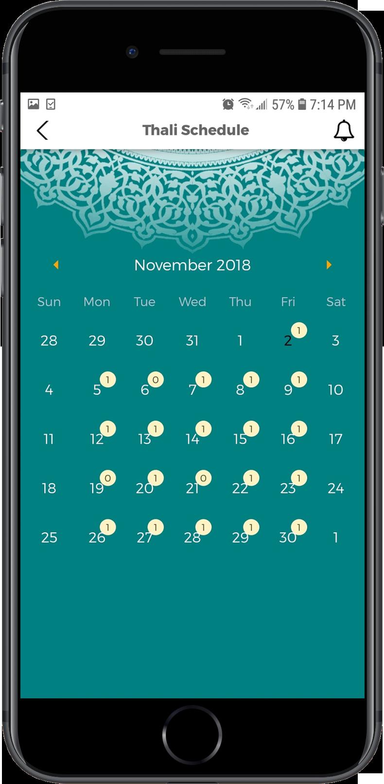 Thaali-Schedule